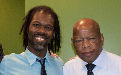Marcel Lamont Walker, left, and Rep. John Lewis during an October 2016 visit in Pittsburgh. Photo courtesy of Marcel Lamont Walker