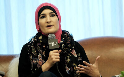 Republicans seized on the forum appearance by Linda Sarsour, shown in 2019, with party officials posting a few seconds on social media. (JTA/Rita Quinn/Getty Images for SXSW)