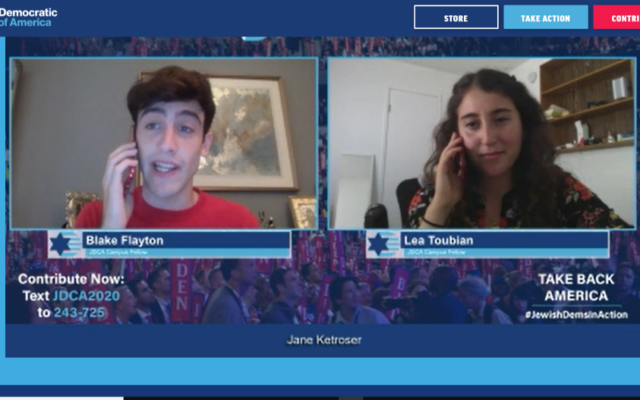 Blake Flayton and Lea Toubian, student fellows with the Jewish Democratic Council of America, pretend to phone one another to demonstrate a get out the vote tactic in a JDCA Zoom event on August 13, 2020. (Screenshot/JTA)