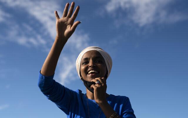 Rep. Ilhan Omar in Minneapolis, Aug. 11, 2020. (Stephen Maturen/Getty Images)