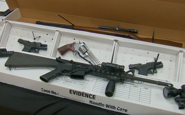 Police found several weapons at the home of Nicola Pelle. (JTA/Screenshot from WABC-TV)