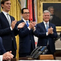 President Trump announcing the Israel-UAE agreement with, from left to right: Senior Adviser Jared Kushner, Treasury Secretary Steven Mnuchin and National Security Advisor Robert O'Brien, Aug. 13, 2020. (Brendan Smialowski/AFP via Getty Images)