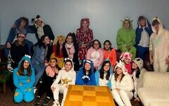 Photo taken at Rodef Shalom for theRSTY (Rodef Shalom Temple Youth group) annual onesies party on January 4, 2020.  Photo courtesy of Marissa Tait