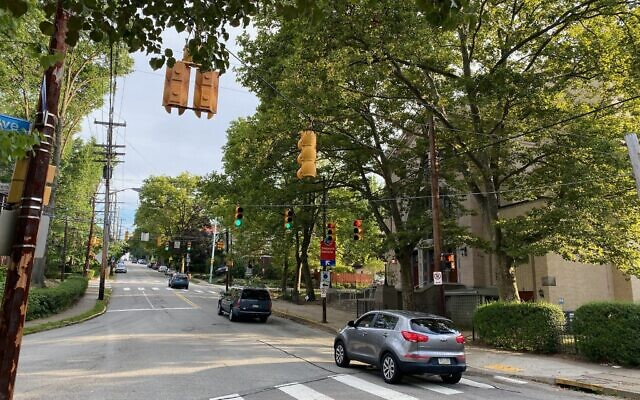 The intersection at Shady, Phillips and Tilbury avenues in Squirrel Hill (Photo by Jim Busis)