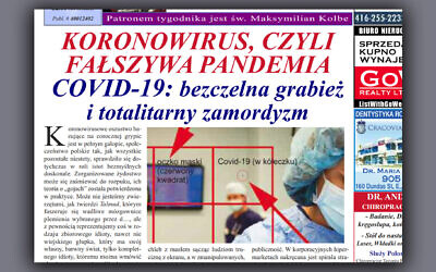 B'nai Brith Canada has filed a police report over Głos Polski's article blaming Jews for the pandemic. (Courtesy of B'nai Brith Canada/JTA)