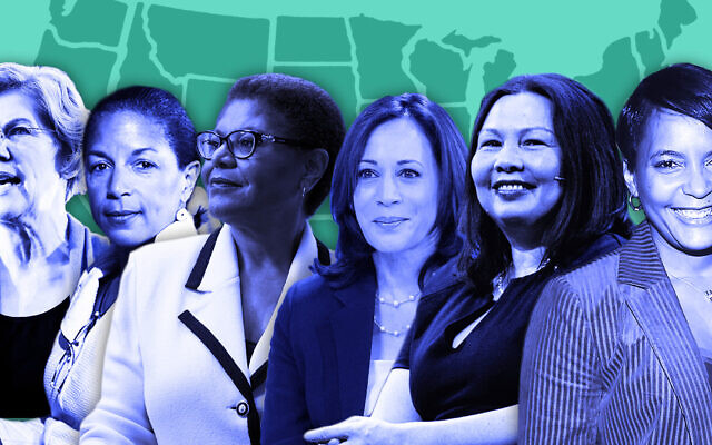 From left: Elizabeth Warren, Susan Rice, Karen Bass, Kamala Harris, Tammy Duckworth and Keisha Lance Bottoms. (Getty Images; illustrative image by Laura Adkins)