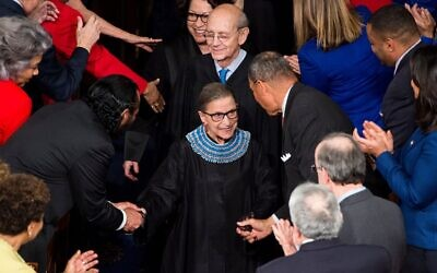 Supreme Court Justice Ruth Bader Ginsburg arrives for President Barack Obama's State of the Union address in the Capitol, Jan. 20, 2015. (Bill Clark/CQ Roll Call/Getty Images via JTA)