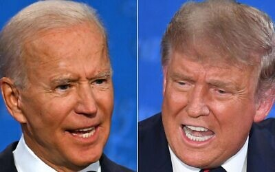 Joe Biden, left, and Donald Trump went at each other during the first presidential debate at the Case Western Reserve University and Cleveland Clinic in Cleveland, Ohio, Sept. 29, 2020. (Jim Watson, Saul Loeb AFP via Getty Images via JTA)