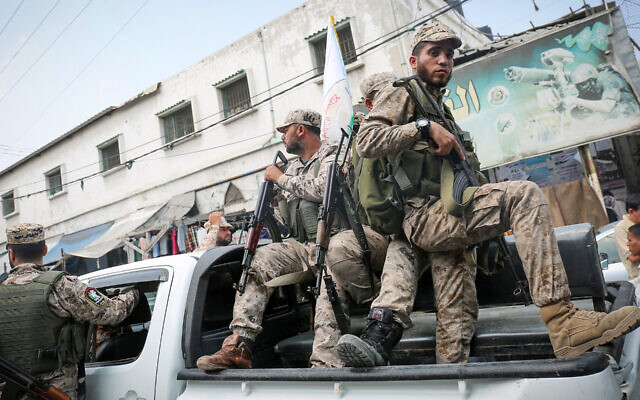 Hamas militants at a funeral in the southern Gaza Strip, Aug. 17, 2017. (Abed Rahim Khatib/Flash90 via JTA)