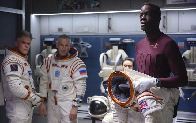 Ato Essandoh, right, as Kwesi Weisberg-Annan in Netflix's space drama 'Away.' Photo by Diyah Pera/Netflix via JTA
