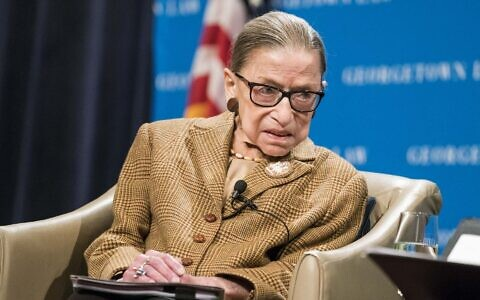 Supreme Court Justice Ruth Bader Ginsburg participates in a discussion at the Georgetown University Law Center in Washington, D.C., Feb. 10, 2020. (Sarah Silbiger/Getty Images via JTA)