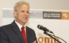 Michael Oren speaks at Bar-Ilan University in Israel in 2014. (Yoni Reif via JTA)