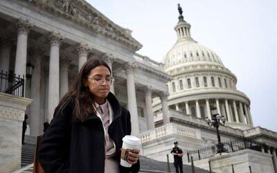 Rep. Alexandria Ocasio-Cortez leaves the U.S. Capitol, March 27, 2020. (Win McNamee/Getty Images via JTA)