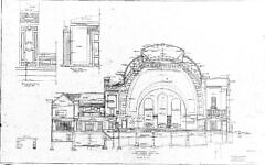 Historic drawings of Rodef Shalom Congregation. Palmer & Hornbostel Longitudinal Section. Image courtesy of Matthew Falcone