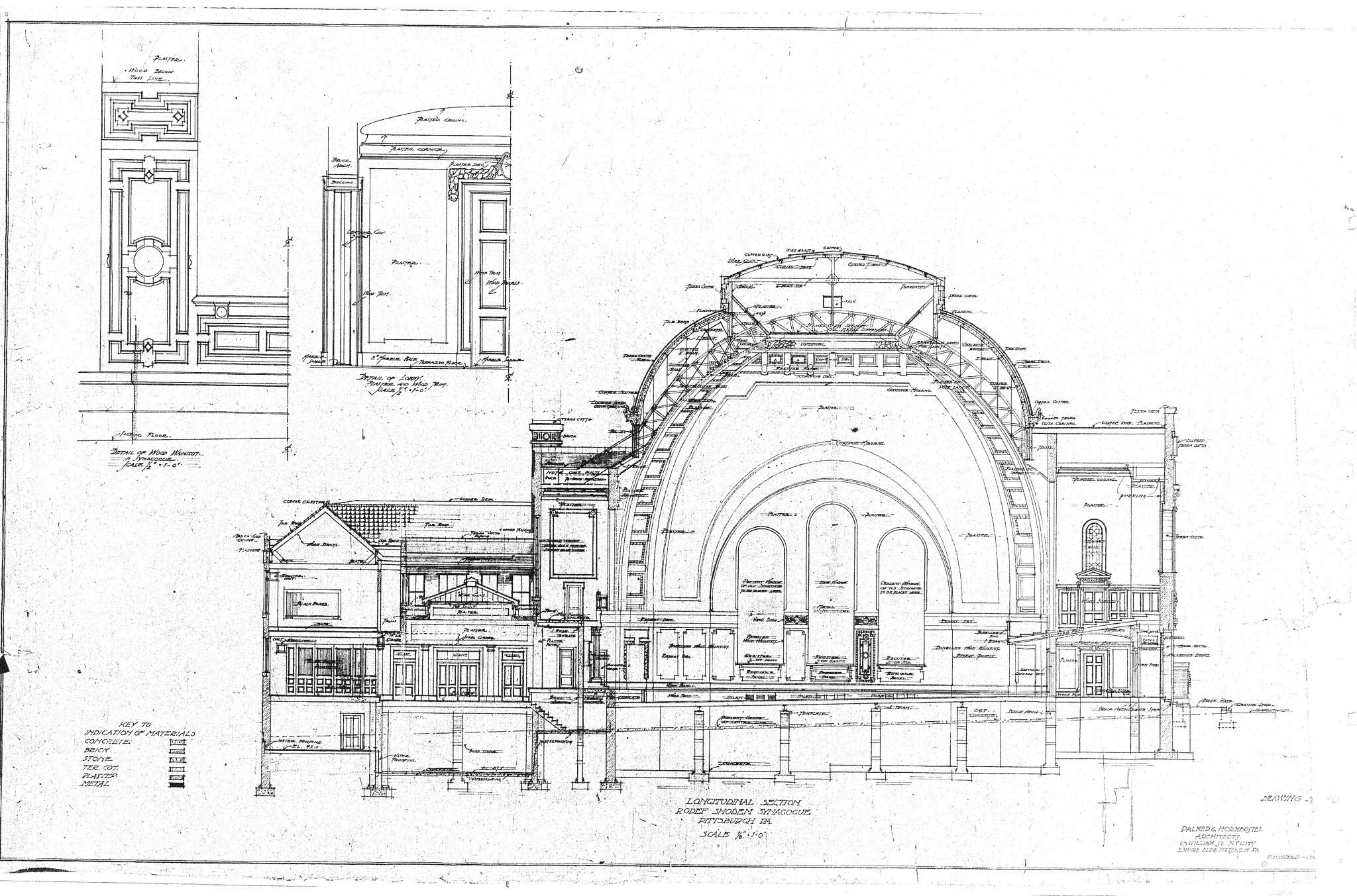 Historic drawings of Rodef Shalom Congregation. Palmer & Hornbostel Longitudinal Section. Image courtesy of Matthew Falcone