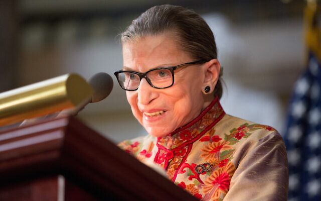 Supreme Court Justice Ruth Bader Ginsburg speaks at an annual Women's History Month reception hosted by House Minority Leader Nancy Pelosi in the Capitol building in Washington, DC, in 2015. Photo by Allison Shelley/Getty Images via JTA.