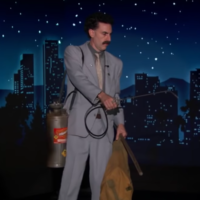 "Sacha Baron Cohen as Borat Sagdiyev on ""Jimmy Kimmel Live,"" Oct. 19, 2020. (Screenshot from YouTube via JTA)"