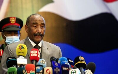Sudan's Sovereign Council chief General Abdel Fattah al-Burhan speaks in the capital Khartoum, Sept. 26, 2020. (Ashraf Shazly/AFP via Getty Images via JTA)