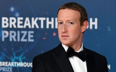 Mark Zuckerberg at the Breakthrough Prize awards ceremony at NASA's Ames Research Center in Mountain View, Calif., Nov. 3, 2019. (Josh Edelson/AFP via Getty Images via JTA)