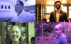Clockwise, from top left: Al Gross, Jon Ossoff, Merav Ben-David and Matt Lieberman. (Screenshots from YouTube; Getty Images; Ron Kampeas via JTA)