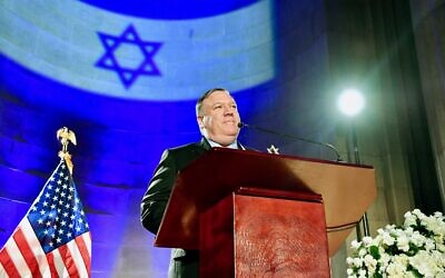 U.S. Secretary of State Michael R. Pompeo delivers the keynote address at the Celebration of Israel's 71st Independence Day, at the Andrew W. Mellon Auditorium in Washington, D.C., on May 22, 2019. (State Department photo by Michael Gross / Public Domain)