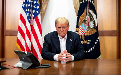 President Donald J. Trump in his conference room at Walter Reed National Military Medical Center on Sunday, Oct. 4. (Official White House Photo by Tia Dufour)