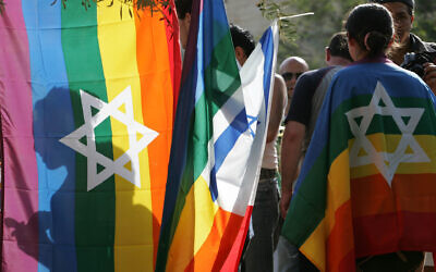 Israelis take part in the Jerusalem Pride Parade, June 25, 2009. (Nati Shohat/Flash90 via JTA)