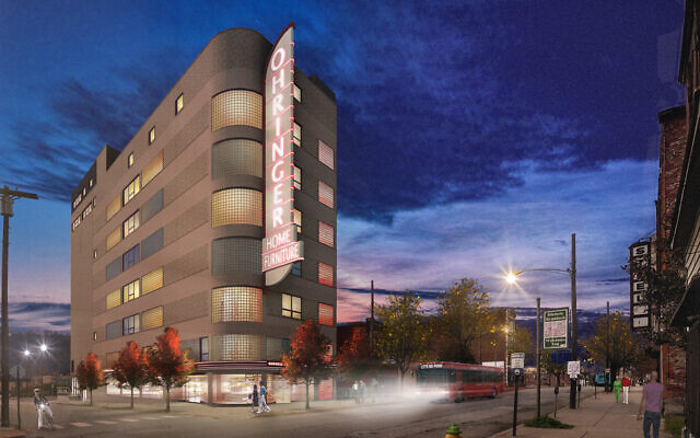 A night rendering of the sign by Rothschild Doyno Collaborative. (Photo by Rothschild Doyno Collaborative and provided by Gregg Kander)