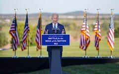 Joe Biden delivering remarks in Gettysburg on Oct. 6 (Photo by Adam Schultz, Biden for President)
