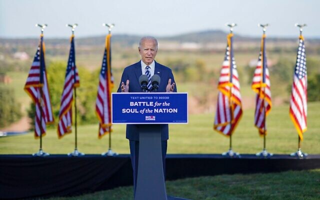 Joe Biden delivering remarks in Gettysburg on Oct. 6 (Photo by Adam Schultz, Biden for President)