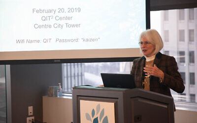 JHF President and CEO Karen Wolk Feinstein, PhD, delivers opening remarks during a 2019 program. Photo courtesy of Jewish Healthcare Foundation