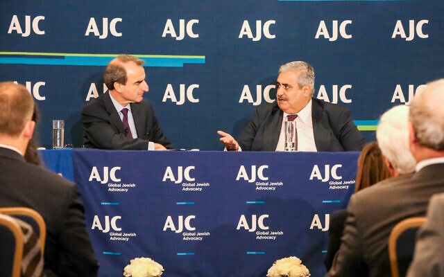 Jason Isaacson conducting a dialogue on the sidelines of the UN General Assembly with Shaikh Khalid bin Ahmed Al Khalifa, then the Foreign Minister of Bahrain, last September in New York. (Photo by Michael Priest Photography)
