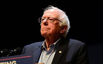 Bernie Sanders speaks at a MoveOn.org rally in Reading, Penn., Dec. 3, 2017. He is credited with opening the door for other progressives to publicly criticize Israel. (Lisa Lake/Getty Images for MoveOn.org via JTA)