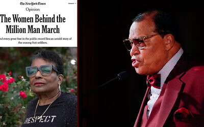 A New York Times op-ed, left, received scrutiny for omitting Louis Farrakhan's anti-Semitic and bigoted history. (Screenshot; Getty Images via JTA)