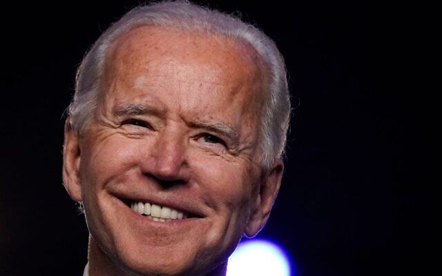 Democratic presidential nominee Joe Biden addresses the nation at the Chase Center in Wilmington, Delaware, Nov. 6 2020. (Drew Angerer/Getty Images via JTA)