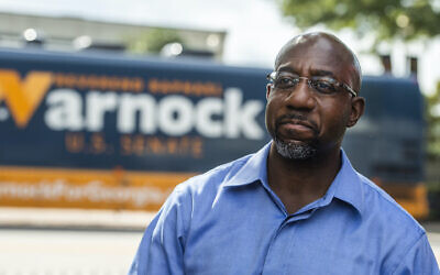Rev. Raphael Warnock seen after a campaign rally in LaGrange, Ga., Oct. 29, 2020. (Tom Williams/CQ-Roll Call, Inc via Getty Images via JTA)