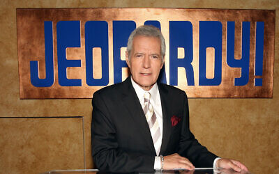 "Alex Trebek poses on set at Sony Pictures in Culver City, Calif., for the premier of the 28th season of ""Jeopardy,"" Sept. 20, 2011. (Frederick M. Brown/Getty Images via JTA)"