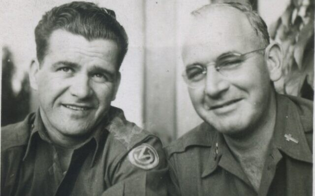 Harry Knights (left) with Father James Glynn during their service together in World War II. They would remain friends for decades. (Image courtesy of Seton Hill University)