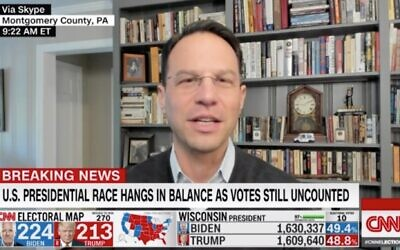 Pennsylvania Attorney General Josh Shapiro appears on CNN on November 4 to discuss vote counting in Pennsylvania. (Screenshot via JTA)
