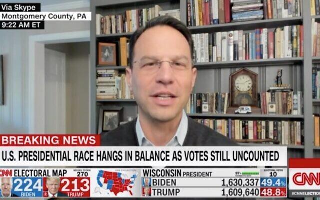 Pennsylvania Attorney General Josh Shapiro appears on CNN on Nov. 4 to discuss vote counting in Pennsylvania. (Screenshot via JTA)