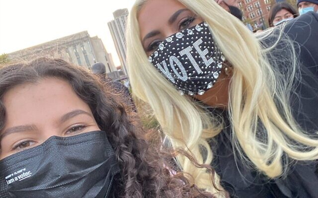 Sophia Shapiro with Lady Gaga en route to the polls (Photo from Prom at the Polls' Twitter)