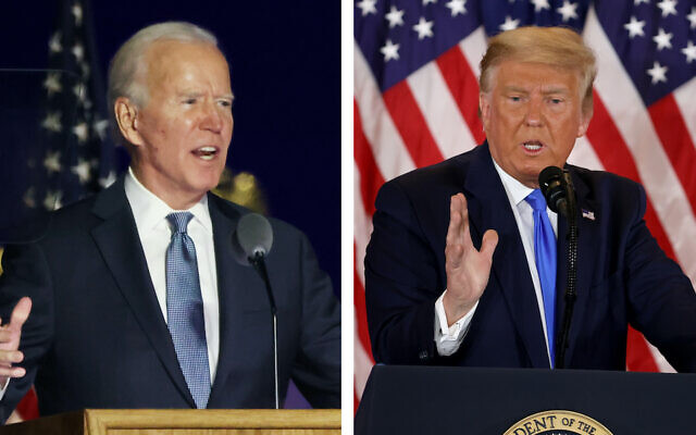 Joe Biden and Donald Trump commented on the vote results in the early hours of Nov. 4, in Delaware and the White House respectively. (Getty Images via JTA)