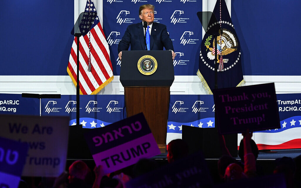 President Donald Trump speaks at the Republican Jewish Coalition's annual leadership meeting at The Venetian Las Vegas, April 6, 2019. (Ethan Miller/Getty Images via JTA)