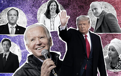 Clockwise, from top left: Lee Zeldin, Elaine Luria, Max Rose, Ilhan Omar, Donald Trump, Joe Biden and Jon Ossoff. (Photo illustration by Grace Yagel; Getty Images via JTA)