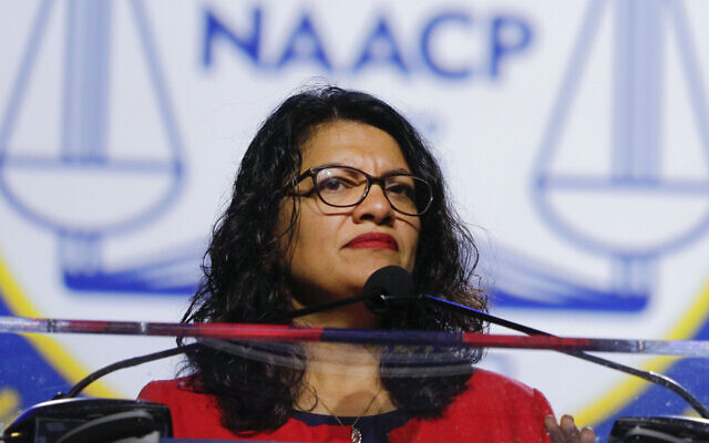 Rep. Rashida Tlaib speaks at the NAACP convention in Detroit, July 22, 2019. (Bill Pugliano/Getty Images via JTA)