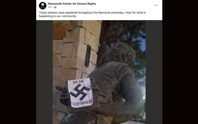 The group that erected the Anne Frank memorial in Boise, Idaho, posted pictures showing that it had been vandalized. (Facebook via JTA)
