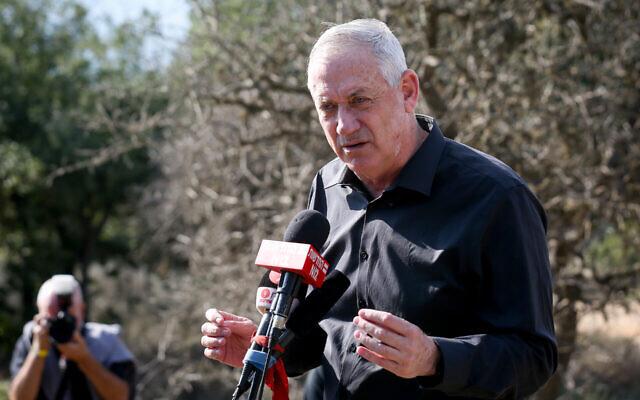 Israeli Defense Minister Benny Gantz speaks during a visit to the Israel-Lebanon border, Nov. 17, 2020. (David Cohen/Flash90 via JTA)
