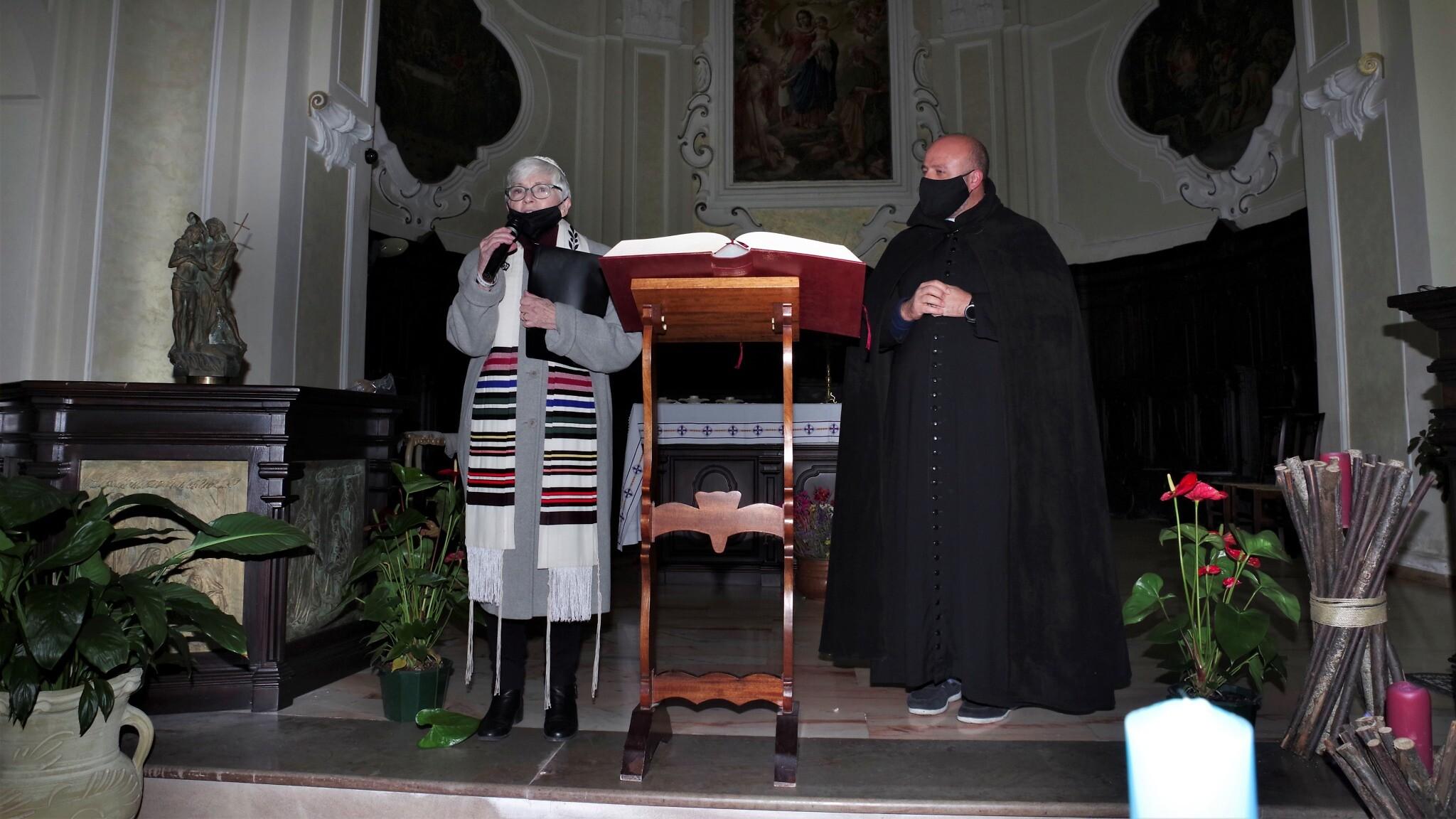 Rabbi Barbara Aiello, left, and Don Antonio Costantino during the 2020 Chanukah celebration. Photo by Domenico Pulice, Italy