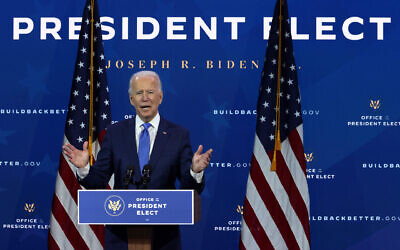 President-elect Joe Biden said the United States could restore sanctions under the terms of the nuclear deal should Iran resist further talks. (Drew Angerer/Getty Images via JTA)