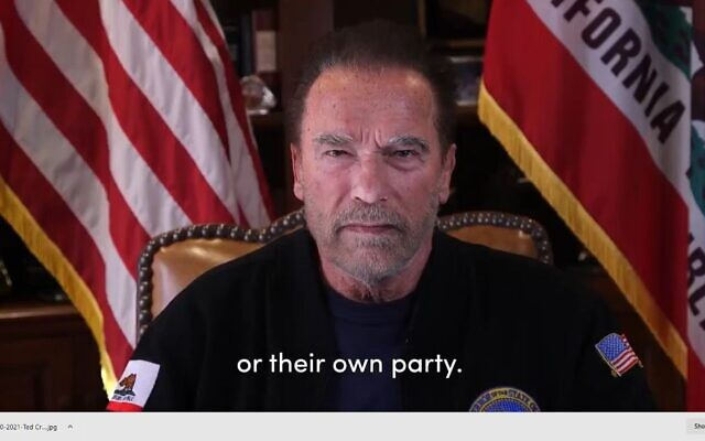 Screenshot of a video Arnold Schwarzenegger posted to social media on Jan. 10, 2021.